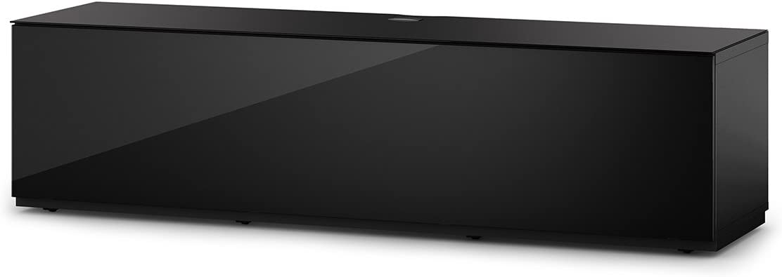 SONOROUS Studio ST-160B Wood and Glass TV Stand with Hidden Wheels for Sizes up to 75 Modern Design with 6 Shelves for Your Audio Video Components and Consoles, Comes with I R Repeater – Black