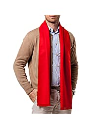Mens Business Casual Warp Cashmere Scarves Classic Long Winter Scarves - Red