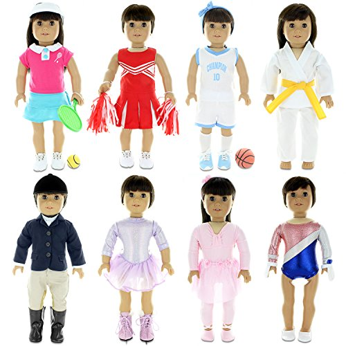 [Doll Clothes - 8 Sports Outfit Mega Bundle fits Clothing Sets Fits American Girl Doll, My Life Doll and other 18 inch Dolls] (Ice Skating Costume Ideas)