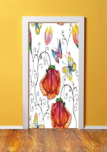 (Nature 3D Door Sticker Wall Decals Mural Wallpaper,Flowers with Swirled Branches Butterflies in Watercolors Artistic Botanical Summer,DIY Art Home Decor Poster Decoration 30.3x78.5078,Multicolor)