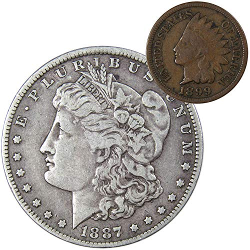 1887 O Morgan Silver Dollar F-Fine with 1899 Indian Head Cent Good
