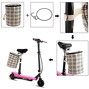 Outdoor 2-Wheel Mini Folding Electric Kick Scooter/Bike with ABS, Retractable Seat, Detachable Basket-Hold To 220lbs(US Stock)