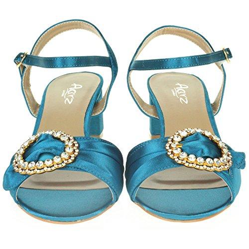 LONDON Tamaño Abierta Tacón Zapatos Casual Punta Diamante Noche Mujer Boda Sandalias Fiesta Azul Paseo Señoras AARZ Ancho gwUx1ndFqF
