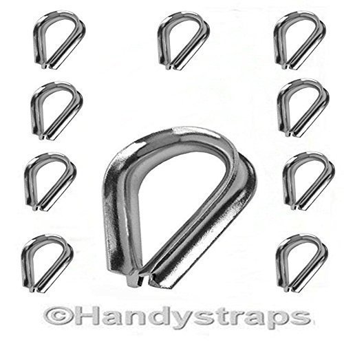 10 x 3mm Wire Rope Thimbles for 3mm wire Stainless Steel Marine Grade HandyStraps