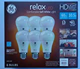 GE Relax High Definition LED Light Bulb 10.5-watt 2700K Comfortable Soft White 800-Lumens 6-Pack 60-watt Replacement Dimmable A19