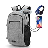 Laptop Backpack Business Travel Computer,BackpackCollege School Bookbag Student Book Bag W/USB Charging & Headphone Port Fits Up to 15.6'' Grey