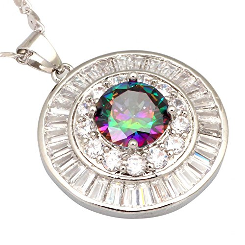 New 2016 Top Quality Silver Plated White Topaz Rainbow My...
