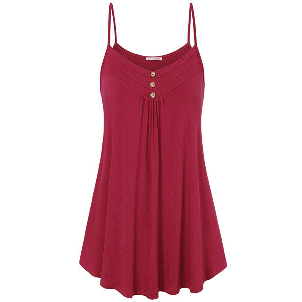 Red Women's Sexy Sleeveless Button Camisole Solid Tank Top