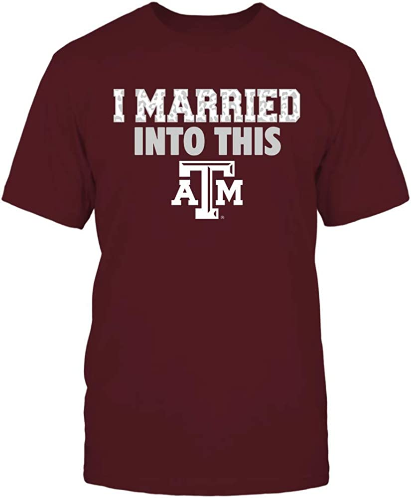 FanPrint Texas A&M Aggies T-Shirt - I Married Into This - Leopard Pattern