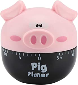 Cute Cartoon Pig Kitchen Timer Cooking Timer Cooking Mechanical Home Decor Counters for Cooking Timing Tool(Pink)