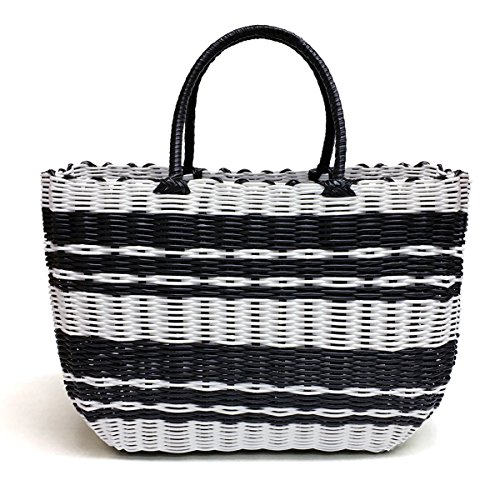 Tote Bag by Bambou, Fashion Purse Women, Waterproof Beach Bag, Ladies Shopping Bag, 100% Recycled Material Classic Black & White)