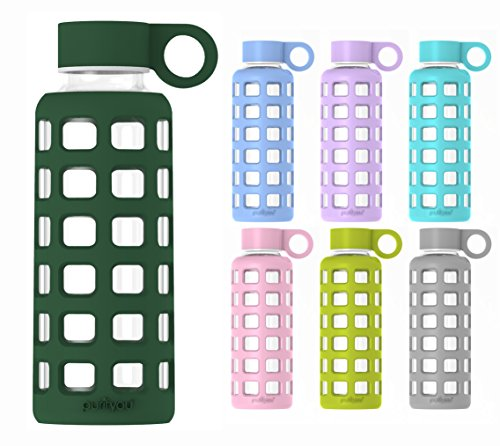 purifyou Premium Glass Water Bottle with Silicone Sleeve and Stainless Steel Lid, 12 / 32 oz (Emerald Green, 12 oz)