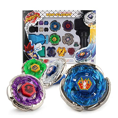 - Metal Master Fusion Storm Pegasus/Flame Libra/Earth Eagle/ Lightning L-Drago with 4D Launcher Grip Gyro top Flight Set