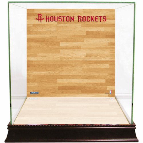 NBA Houston Rockets Glass Basketball Display Case with Team Logo on Court Background (Display Houston Cases)