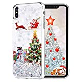 Maxdara Christmas Case for iPhone Xs iPhone X, Merry Christmas Tree Pattern Glitter Liquid Bling Sparkle Pretty Cute Case for Girls Children Women Gifts Xs/X Christmas Case 5.8 inches(Tree)
