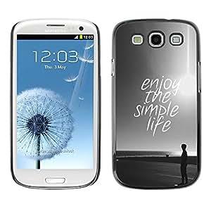 TopCaseStore / la caja del caucho duro de la cubierta de protección de la piel - Enjoy Sun Black White Sunset - Samsung Galaxy S3 I9300