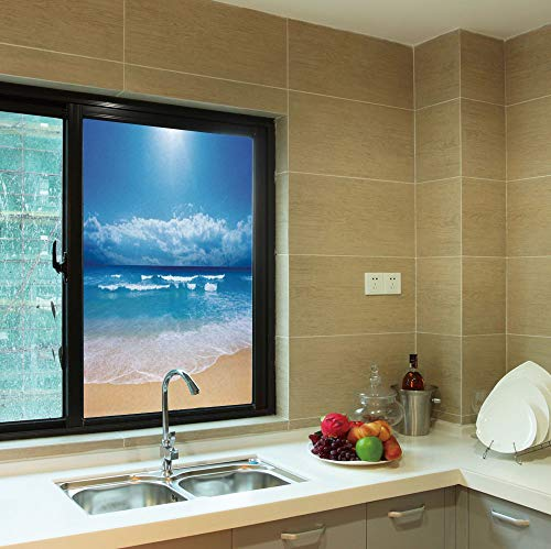YOLIYANA Frosted Window Film,Beach,for Shop Restaurant Home,Seascape Theme Landscape of The Beach and The,24''x36''