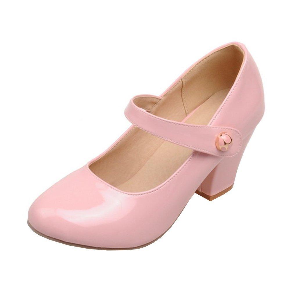 YE Damen Ankle Strap Lack Pumps Blockabsatz High Heels mit Riemchen Elegant Schuhe  40 EU|Rosa