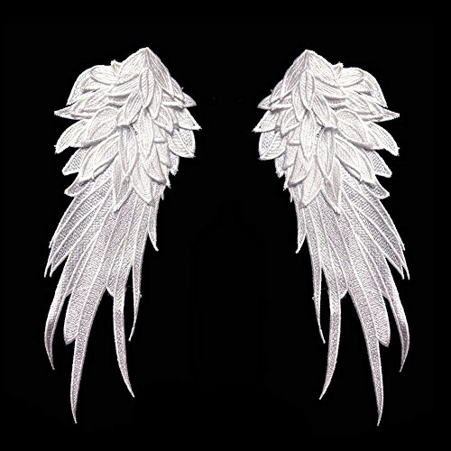 1Pair White Embroidered Angel Wings 15.8X6.2 inch