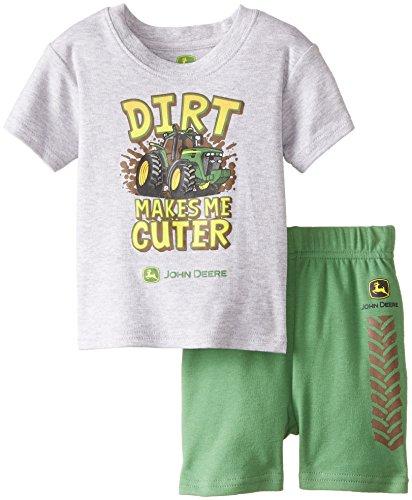 John Deere Baby Boys' Newborn Dirt Makes Me Cuter Set, Heather Grey/Green, 6 Months