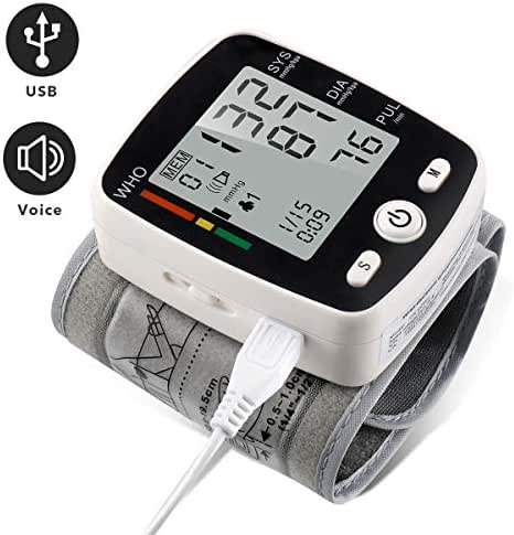 Wrist Blood Pressure Monitor with USB Charging, Portable Automatic Digital BP Machine,180 Reading Memory Mode, Voice Broadcast, Adjustable Cuff and Irregular Heartbeat Indicator