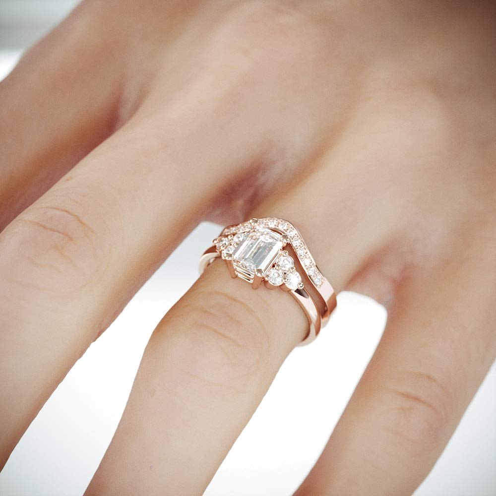 Amazon Com 14k Rose Gold Engagement And Wedding Rings Set With Moissanite And Diamonds C C F1 Bridal Set Rings Handmade