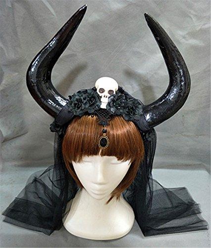 Handmade Halloween Costume Bulls Horns Skull Veil Headband Taurus Pointed Fight Minotaur Ox Horn Headpiece Cosplay (Black Veil)