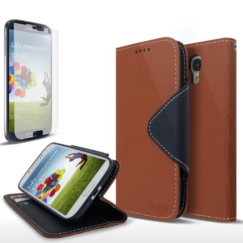 Cellto Samsung Galaxy S4 Premium Wallet Case with Screen Protector [Slim Ultra Fit] [Smooth Brown] Diary Cover /w ID Pocket Top Quality for Galaxy S IV Galaxy SIV i9500 [Made in Korea] + 1 Premium Cellto Clear Screen Protector (S4 Wallet Case Genuine Leather)