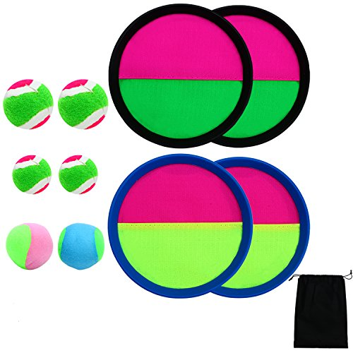 Aneco Toss and Catch Paddle Game Set Toys Disc Catch Bat Ball Sport Game with Storage Bag, 4 Paddles (Blue and Black) and 6 Balls (2 Big balls,2 Small balls and 2 soft balls) by Aneco