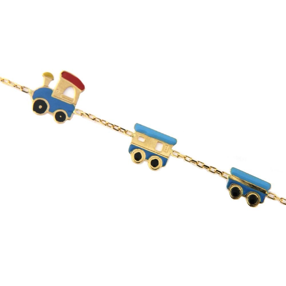 18K Yellow Gold Enamel Train Bracelet 5.60 inches with extra rings at 4.75