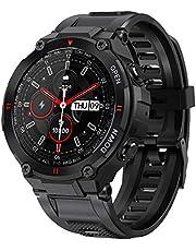 ANSUNG Smartwatch heren fitness tracker militair design horloge waterdicht met Bluetooth oproep zuurstofverzadiging hartslag slaapmonitor bloeddrukmeter voor mannen iOS Android(zwart)