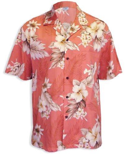 land Cotton Hawaiian Shirt, PEACH, MEDIUM (Island Paradise Hawaiian Shirt)