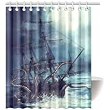 InterestPrint Pirate Ship Octopus Design Polyester Fabric Bathroom Shower Curtain Purple 60 X 72 Inches With Hooks