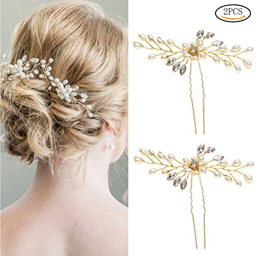 SUMAJU Wedding Hair Pins, 2 Pack of Crystal Rhinestone Weddi