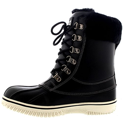 Black Boot Womens Genuine Polar Leather Snow Calf Winter Mid FnxnR0Sa