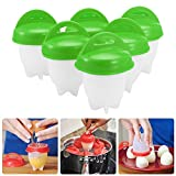 Egglettes Egg Cooker - BESTGIFT Egg Boiler Silicone Eggletts Cooker Maker, Poacher, Cups Steamer, Hard and Soft Make, No Shell, Non Stick, 6 Pack (Green)
