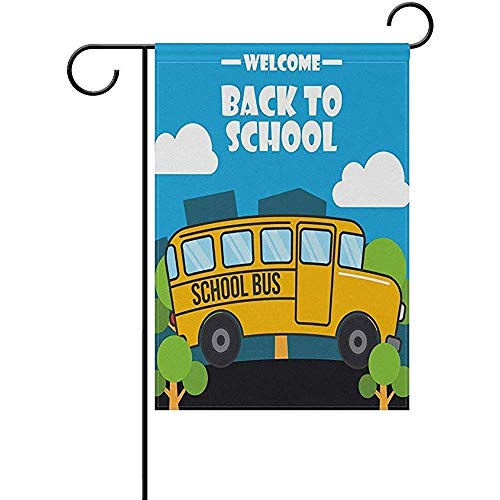 (Maozond8 Personalized Welcome Bus Back to School Day Garden Flag 12 X 18 Large Inches, Double Sided Outdoor Yard Yall Garden Flag Wedding Party House Home)