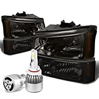 For Chevy Siverado/Avalanche 4Pc 1st Gen Smoked Lens Amber Corner Headlight + 9006 LED Conversion Kit W/Fan