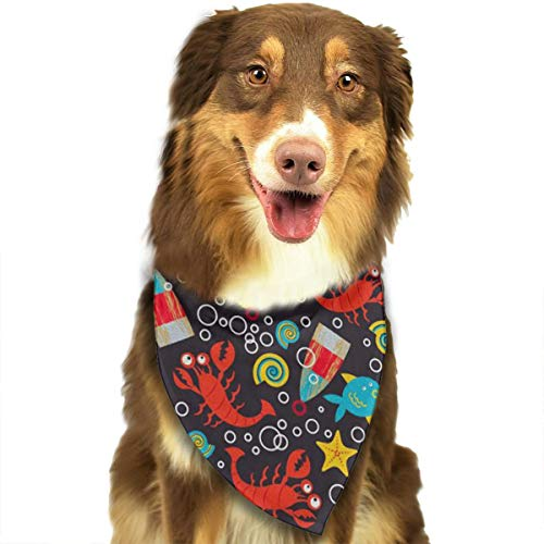 OURFASHION Lobster World Bandana Triangle Bibs Scarfs Accessories for Pet Cats and Puppies.Size is About 27.6x11.8 Inches (70x30cm). ()