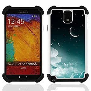 For Samsung Galaxy Note3 N9000 N9008V N9009 - Moon Crescent Night Sky Stars Clouds Space /[Hybrid 3 en 1 Impacto resistente a prueba de golpes de protecci????n] de silicona y pl????stico Def/ - Super Mar