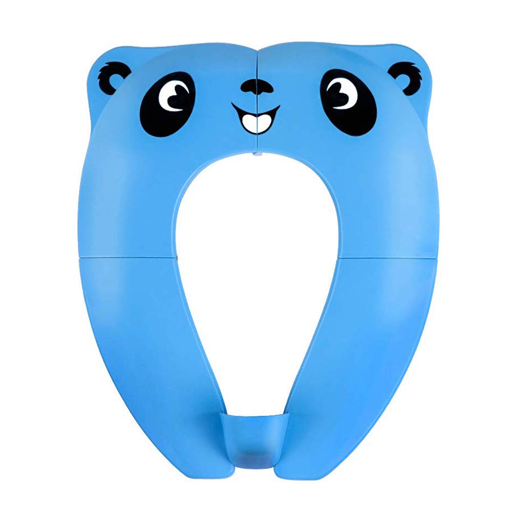 Blue Foldable Potty Toilet Seat,Podazz Toilet Training Seats with with 4 Anti Slip Silicon Pads /& 1 Bag Prevent Germs Spread Portable to Carry and Use When Outside or Potty Training