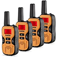 Aautoo Walkie Talkies For kids Adults Long Range Portable UHF Handheld Walky Talky For Outdoor Adventure 22 Channel FRS/GMRS 2 Way Radio Up to 6km Set of 4 Orange