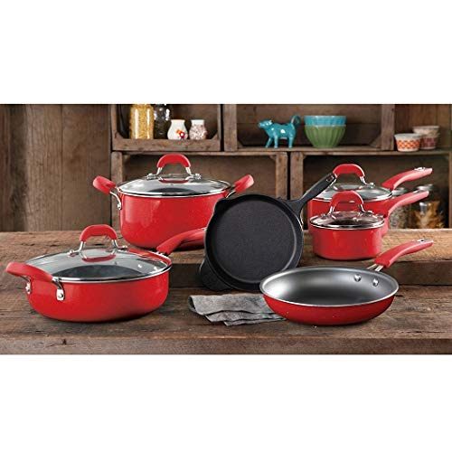 (The Pioneer Woman Vintage Speckle 10-piece Non-stick Pre-seasoned Cookware Set, Linen Dishwasher Safe … (RED))