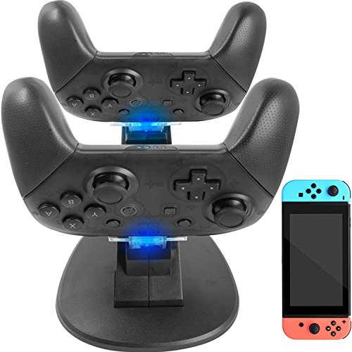 Nintendo Switch Pro Controller Charger - YOOWA Dual Controller Charger Charging Dock Stand Station For Nintendo Switch Pro Controllers With LED Indicators