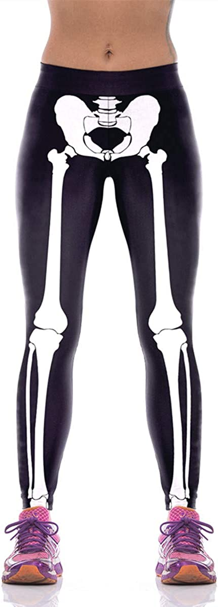 Alive Women's Digital Print High Waist Stretchy Ankle Sexy Leggings Tights (skeleton3) at  Women's Clothing store