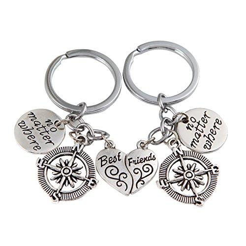 Best Friends No Matter Where Compass Necklace Set And Keychain Heart Best Friend Jewelry (Cloud Keychain) (Chain Friendship)