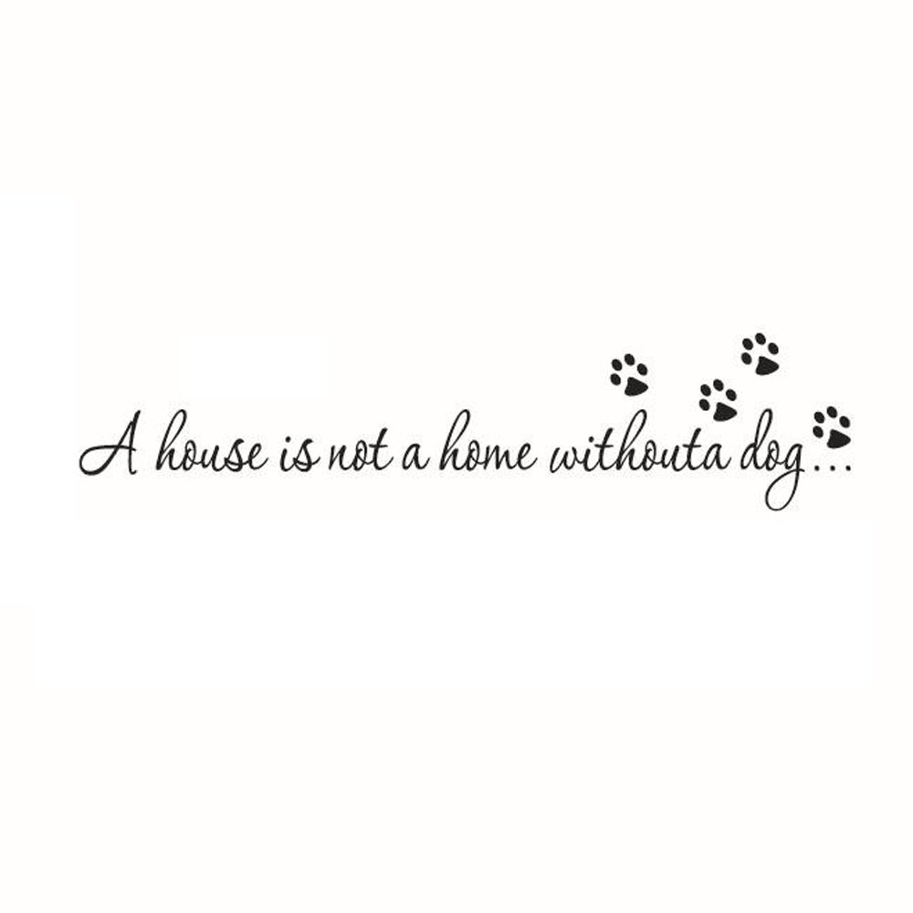 Adesivi Murali Frasea House is Not a Home Without a Dog Stickers Neri Frasi Scritte Muri in Camera da Letto Dormitorio e Soggiorno Decorazione Amovibile Art Parete 57 * 9.7cm CDKJ