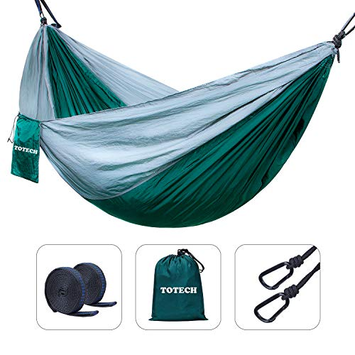 Double Outdoor Camping Hammock Set- Lightweight, Compact & Portable Two Person Parachute Nylon...