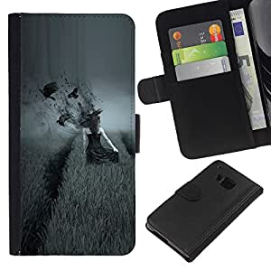 KLONGSHOP // Tirón de la caja Cartera de cuero con ranuras para tarjetas - lado oscuro Vorony polo devushka - HTC One M9 //