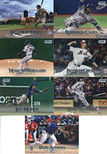 2019 Topps Stadium Club Baseball New York Mets Team Set of 12 Cards: Michael Conforto(#112), Brandon Nimmo(#113), Mike Piazza(#120), Jeff McNeil(#130), Jacob deGrom(#133), Darryl Strawberry(#139), Noah Syndergaard(#159), Robinson Cano(#167), Amed Rosario(#183), Todd Frazier(#187), Edwin Diaz(#199), Pete Alonso(#272)
